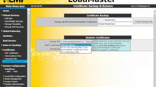How to Restore LoadMaster SSL Certificates
