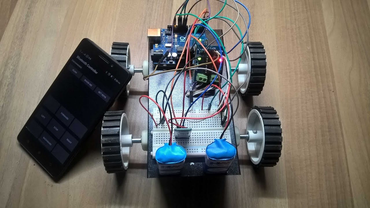 How to make a bluetooth controlled robot using arduino