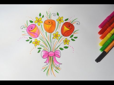 Como Desenhar Um Buque De Rosas Com Flores Simples E Passo A Passo