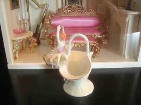 Vintage Japan Porcelain Lace Lady Dancer Ballerina Basket Figurine