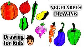 easy vegetables drawing