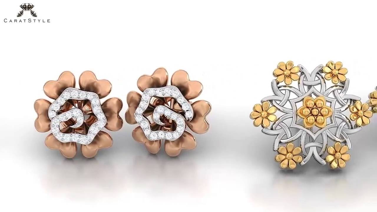 Women\'s Gold & Diamond Earrings Designs - YouTube