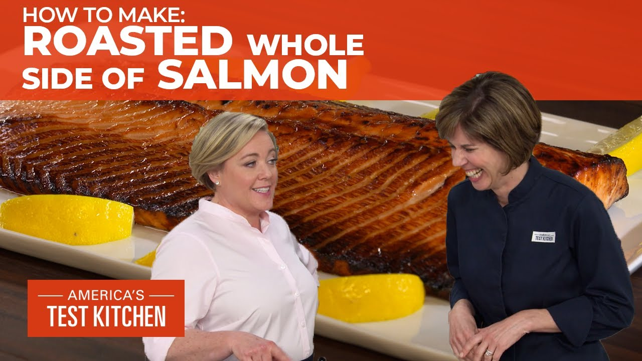 How To Make A Perfectly Cooked Roasted Whole Side Of Salmon Youtube