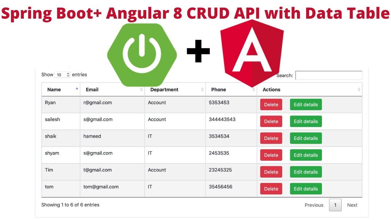 Angular 8 + Spring Boot CRUD API + Data Table Example