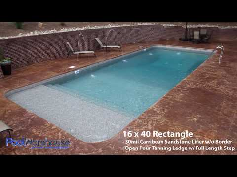 Rectangle Swimming Pool Kit With Tanning Ledge From Pool Warehouse ...