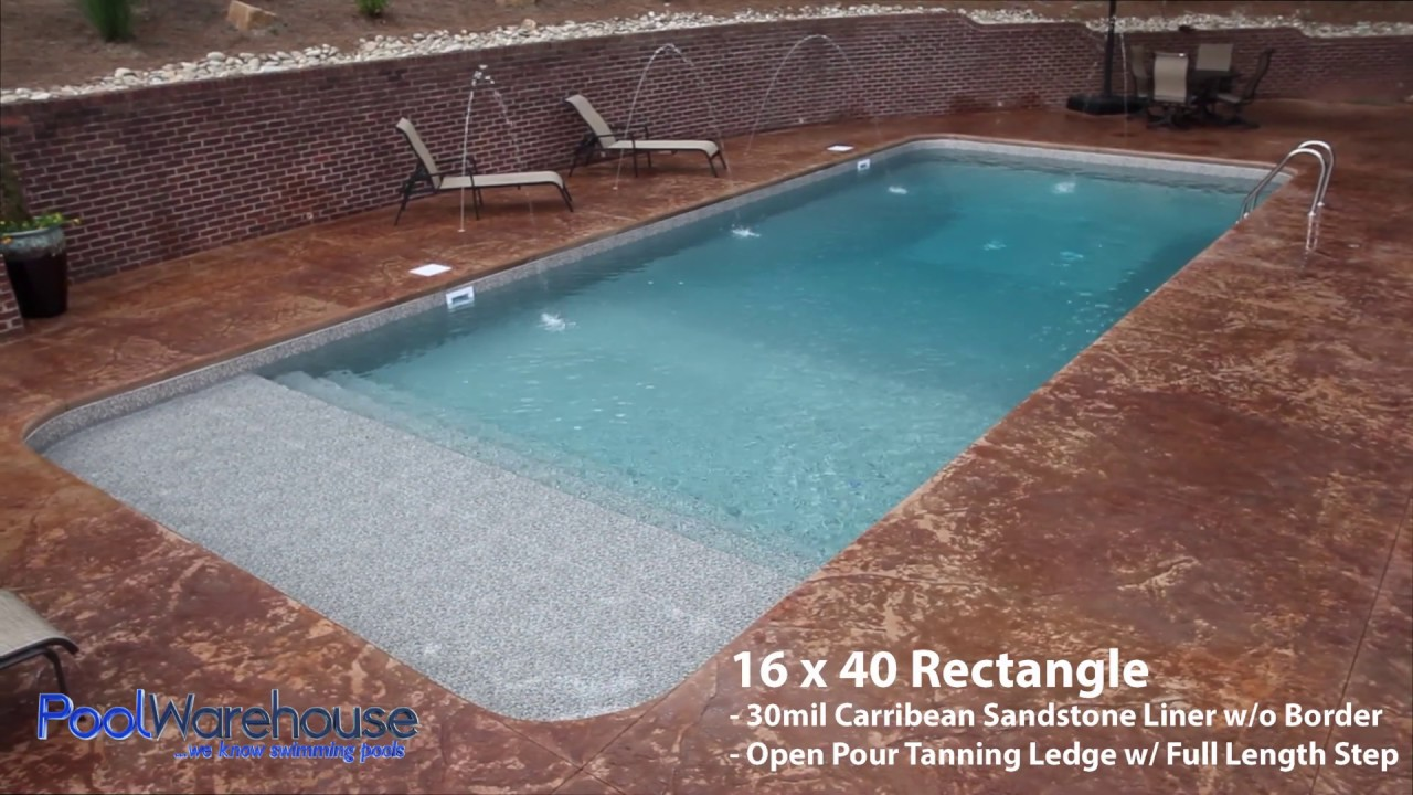 Rectangle Swimming Pool Kit With Tanning Ledge From Pool Warehouse!