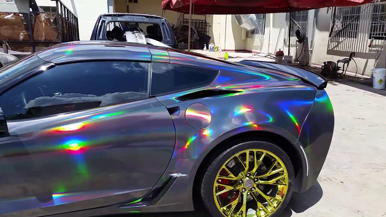 Corvette Z06 Vinyl Wrap In Black Holographic Youtube