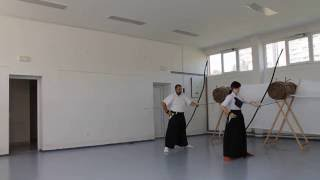Itachi training for Kyudo demonstration