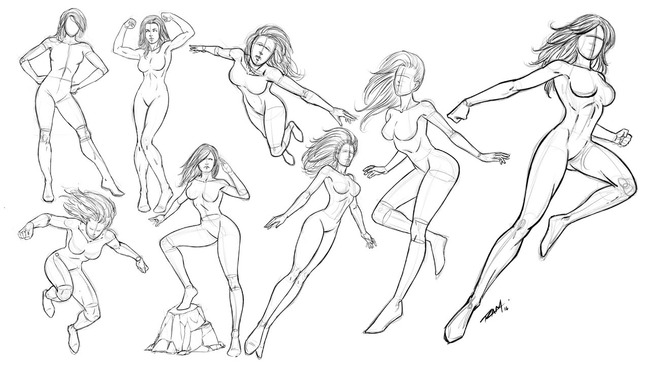 Drawing Women Poses - Comic Book Style - Time Lapse Video - YouTube