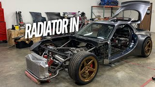 Radiator IN the 4 Rotor AWD RX-7. It's going to be a wild ride to SEMA