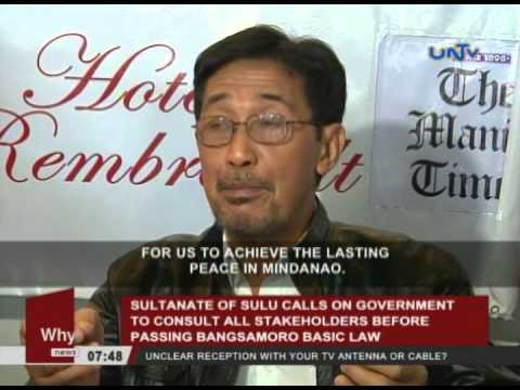 Sultanate of Sulu calls on government to consult all stakeholders before passing BBL