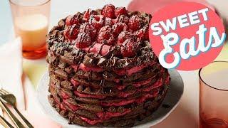 How to Make a Chocolate-Raspberry Waffle Cake   Food Network