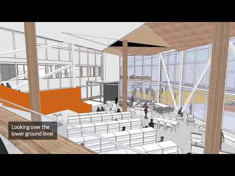 Interior view flyover of the new Waitohi Hub