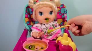 Куклы Пупсик кушает какает Беби Элайв Baby Alive на русском, меняем подгузник  Игрушки для девочек