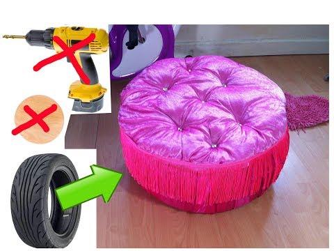 DIY Creative Ways to Re purpose .Trash to treasure.Tyre ottoman.