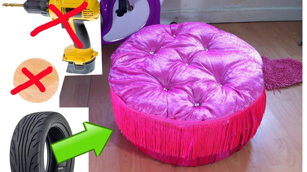 DIY Creative Ways To Re Purpose .Trash To Treasure.Tyre Ottoman.