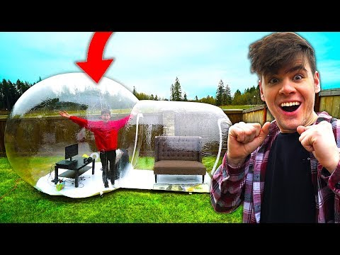 Trapping My Little Brother in GIANT BUBBLE House for 24 Hours Challenge