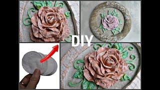 Из ватных дисков и гипса создаём объёмную розу