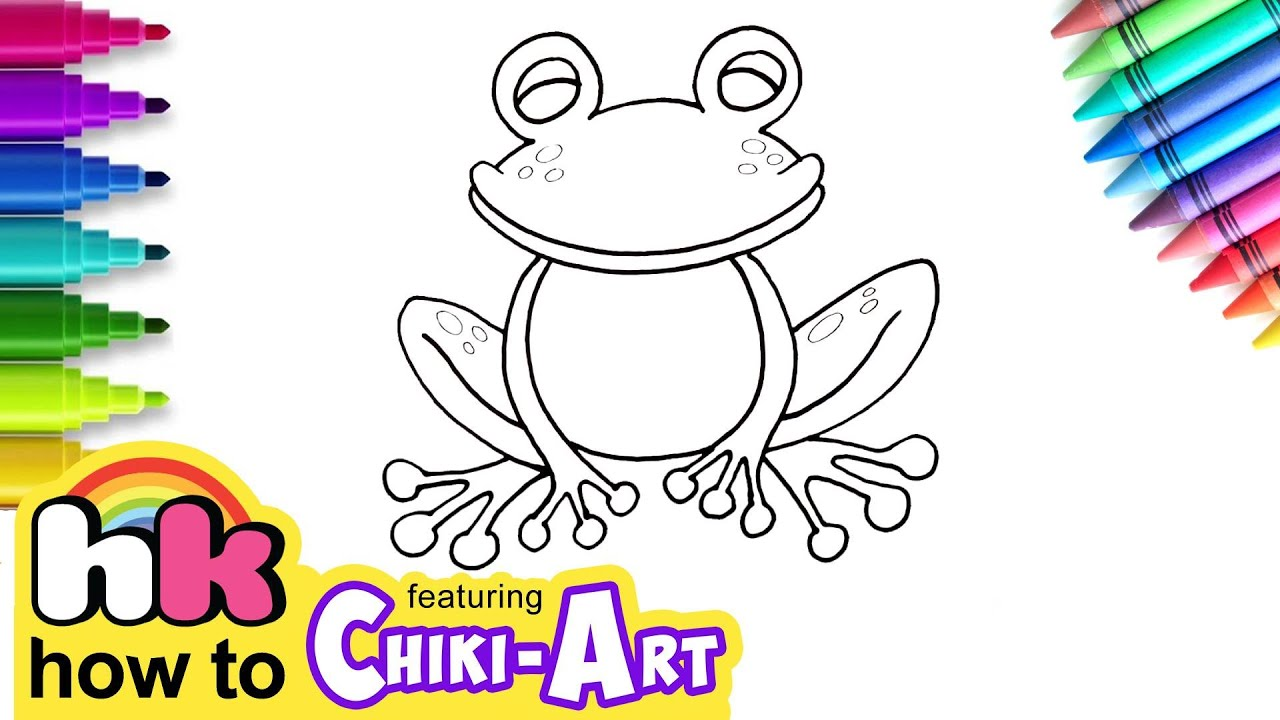How To Draw A Frog   Drawing & Coloring Tutorial For Kids ...