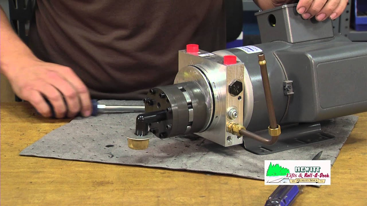 Replacing the gear pump assembly inside of a hydraulic for Boat lift motors 12 volt