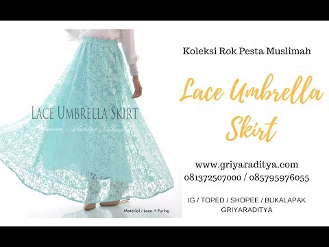 Rok Pesta Cantik Muslimah Lace Umbrella Skirt  Griyaraditya 081372507000