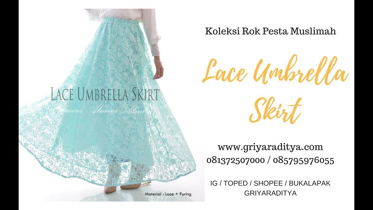 Rok Pesta Cantik Muslimah Lace Umbrella Skirts Griyaraditya Kain Furing Asahi 081372507000