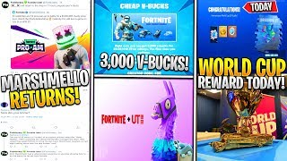 *NEW* Fortnite: Marshmello Skin/New Pickaxe Today! 3,000 V-Buck Glitch, S10 Teasers Soon, WORLD CUP!