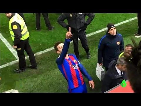 Gerard Pique shouts at Javier Tebas, president of spanish league, about poor refereeing | 2017