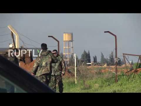 Syria Footage of Shayrat Base after Trump US Airstrike Supporting Al Qaeda - Little Damage? NO GAS.