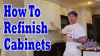 How To Paint Or Refinish Kitchen Cabinet Doors.  Cabinet Painting Hacks.
