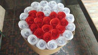 ช่อดอกไม้กระดาษ/paper flowers (หัวใจวาเลนไทน์) l แม่เนย น้องพอสDIY