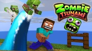 Monster School: ZOMBIE TSUNAMI CHALLENGE - Minecraft Animation