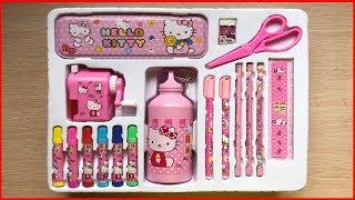 Đồ chơi trẻ em HỘP DỤNG CỤ HỌC TẬP 17 MÓN HELLO KITTY có bình nước, bút màu... Toys kids (Chim Xinh)