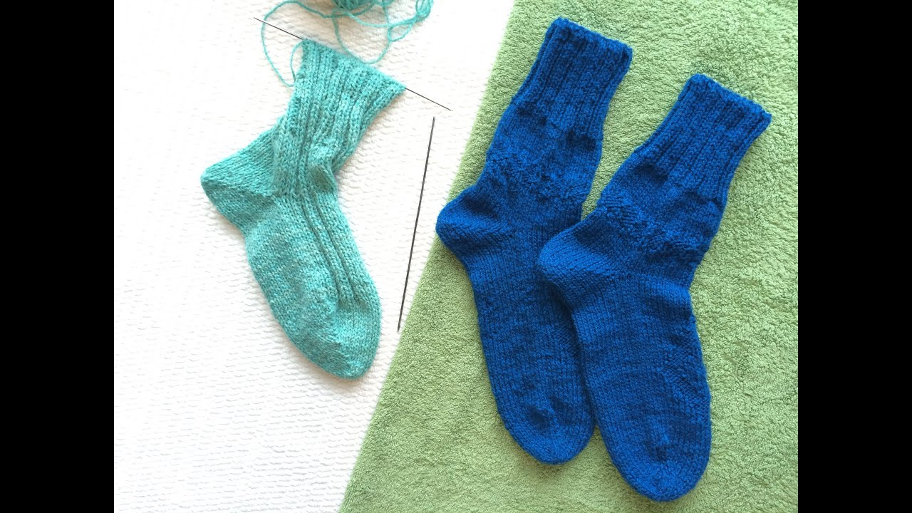 Вязание носки от мыска на двух спицах без шва / Knitting ...