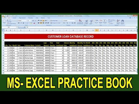 How To Make Customer Loan Data In Excel Tutorial In Hindi || Microsoft Office Excel Practice Book ||