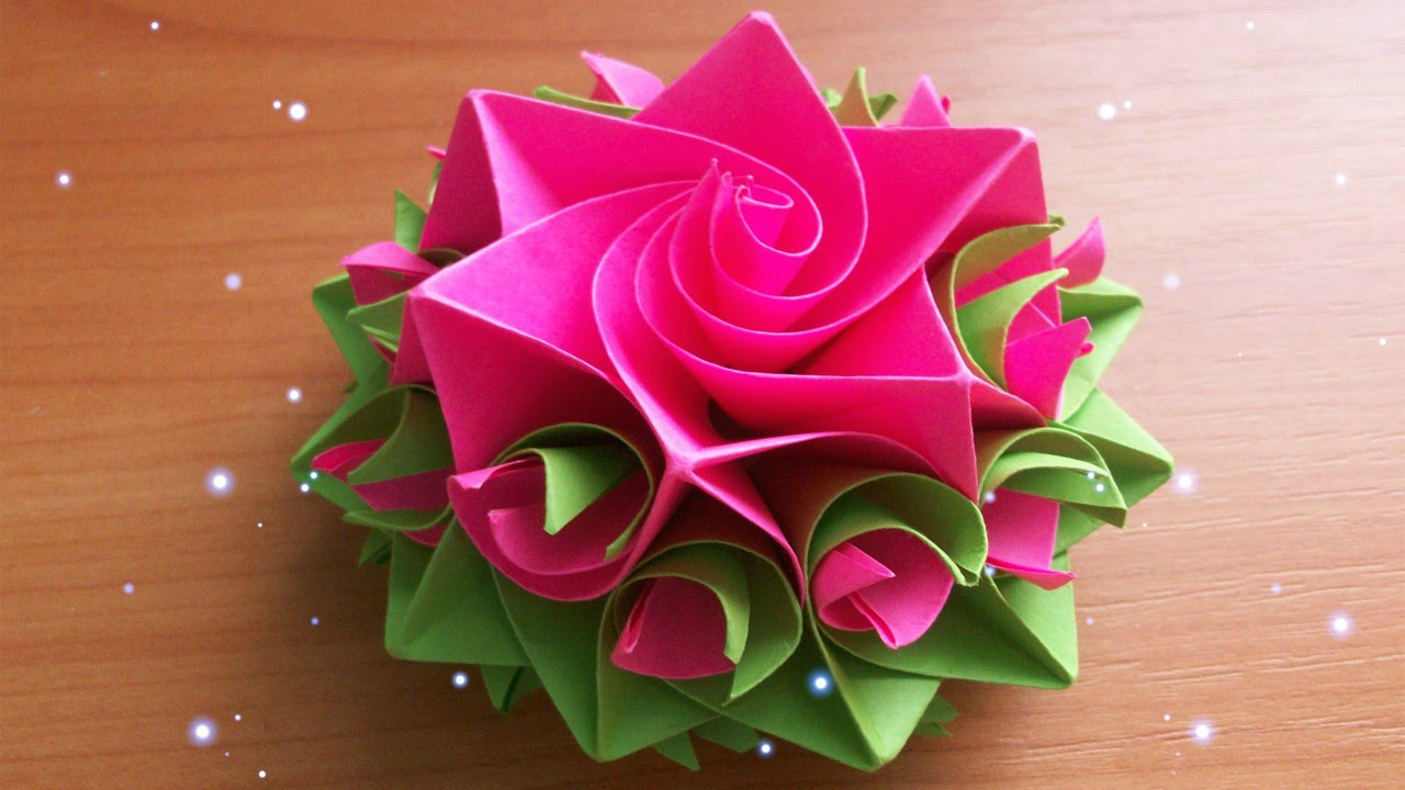 Papercraft DIY Handmade Crafts. How To Make Amazing Paper Rose. Origami Flowers For Cards