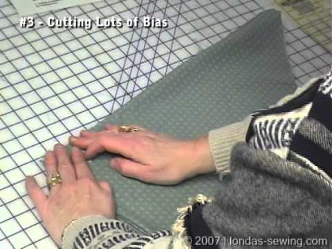 Londa Demonstrates How To Fold Fabric to cut Long Strips of Bias