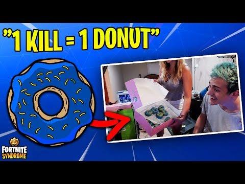 NINJA TAKES ON THE DONUT CHALLENGE w/ WIFE! (1 kill = 1 donut)
