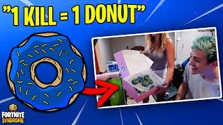 NINJA TAKES ON THE DONUT CHALLENGE w/ WIFE! (1 kill = 1 donut) thumbnail