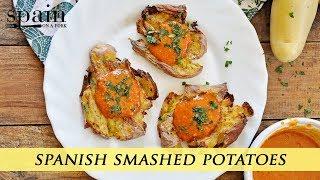 Crispy Smashed Potatoes with Spanish Mojo Picon Sauce