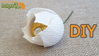 Тюльпан из гофрированной бумаги Ферреро Роше ☆ Цветы из бумаги своими руками ☆ Diy