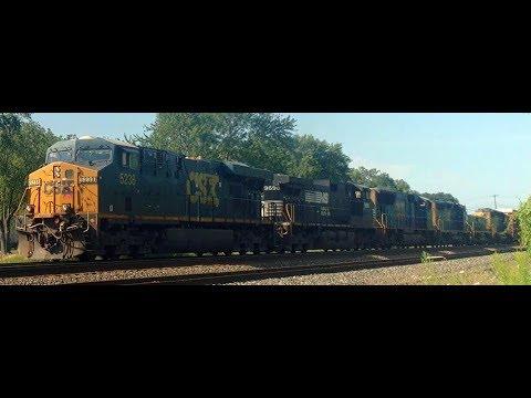 6 Locomotives including Slug CSXT 1006 on Q384 past Dunkirk, NY
