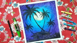 How to Draw Scenery of Moonlight with Oil Pastel step by step for beginners |Technique Drawing 2018|
