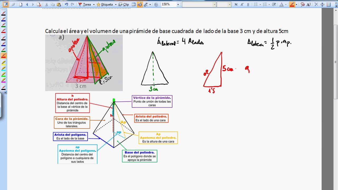 volumen y area de una piramide de base cuadrada  YouTube