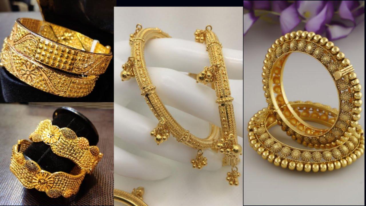 Gold Bangels design with weight// set of 2 Bangels//one hand Breslet style Bangels/#goldBangels