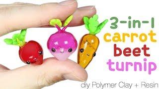 How to DIY 3-in-1 Cute/Kawaii Turnip, Carrot, Beet Polymer Clay/resin tutorial