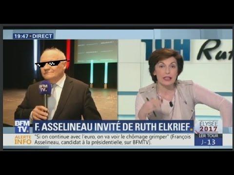 Asselineau met en PLS Ruth Elkrief sur BFM TV (10/04/17)