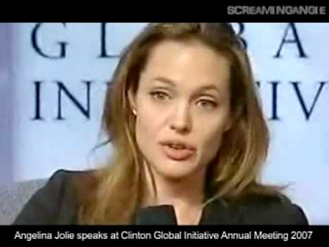 Angelina Jolie tear at CGI Meeting