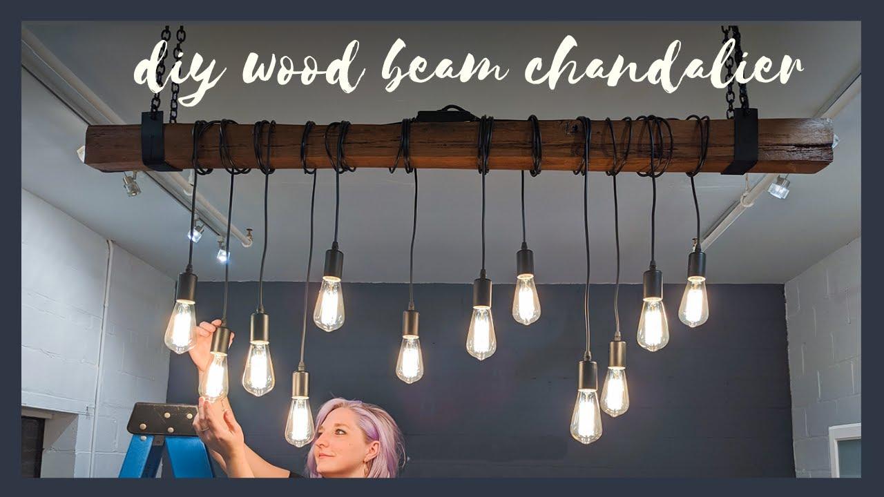 Stunning Reclaimed Wood Beam Chandelier The Diaries Of Diy Danie