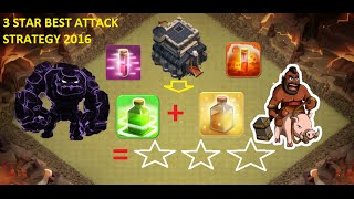 Th9 Attack Strategy 3 star Gowipe + Hog -Town Hall 9 Clan war base Clash of clans 2016